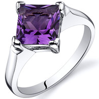 Striking 1.50 carats Amethyst Engagement Sterling Silver Ring
