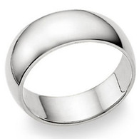 7MMStering Silver High Polished Half-Round Light Comfort Fit Classy Dome Wedding Band Ring