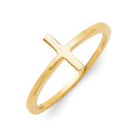 Sterling Silver Yellow Gold-Plated Sideways Cross Ring