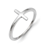 14k White Gold Sideways Cross Ring