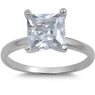 Sterling Silver Princess Cut Clear Solitaire Simulated Diamond Engagement Ring on Prong Setting