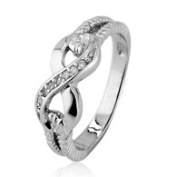 Sterling Silver Infinity Knot Rope Ring with Clear Cubic Zirconia