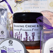Try our new men and women's Shaving Crème & Moisturizer with the spicy scent of lavender, cinnamon and clove.  This product is scented with essential oils and will moisturize as you shave.  Place a small amount in your palm and apply to dry skin.  Simply shave and don't rinse.  This lotion will leave your skin soft and hydrated.