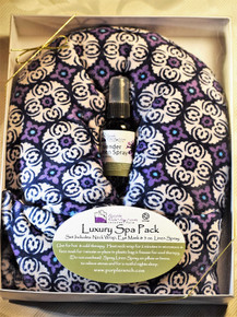 Our Luxury Spa Pack is hand made in Texas.  The pack contains a full size neck wrap, eye pillow and 2 oz. linen spray.  Microwave the neck wrap or eye pillow (do not overheat).  Spray your pillow with linen spray, place the wrap around your neck or the pillow over your eyes for a soothing and relaxing sleep.