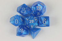 Set of Velvet Bright Blue dice with a numbered D6.