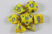 Set of Vortex Yellow dice with a numbered D6.