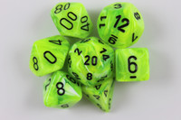 Set of Vortex Bright Green dice with a numbered D6.