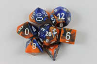 Set of Gemini Blue-Orange dice with a numbered D6.