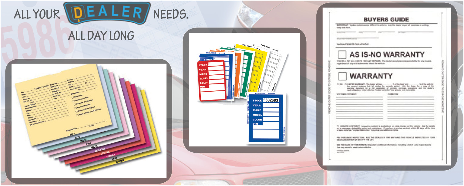 Auto Dealership Supplies Forms And Applications At Lower