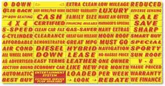Window Sticker Slogans Red on Yellow   - 1 dozen per pack