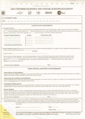 GM Customer Incentive & OnStar Acknowledgement