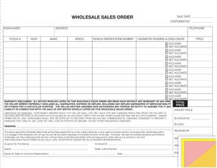 Wholesale Sales Order