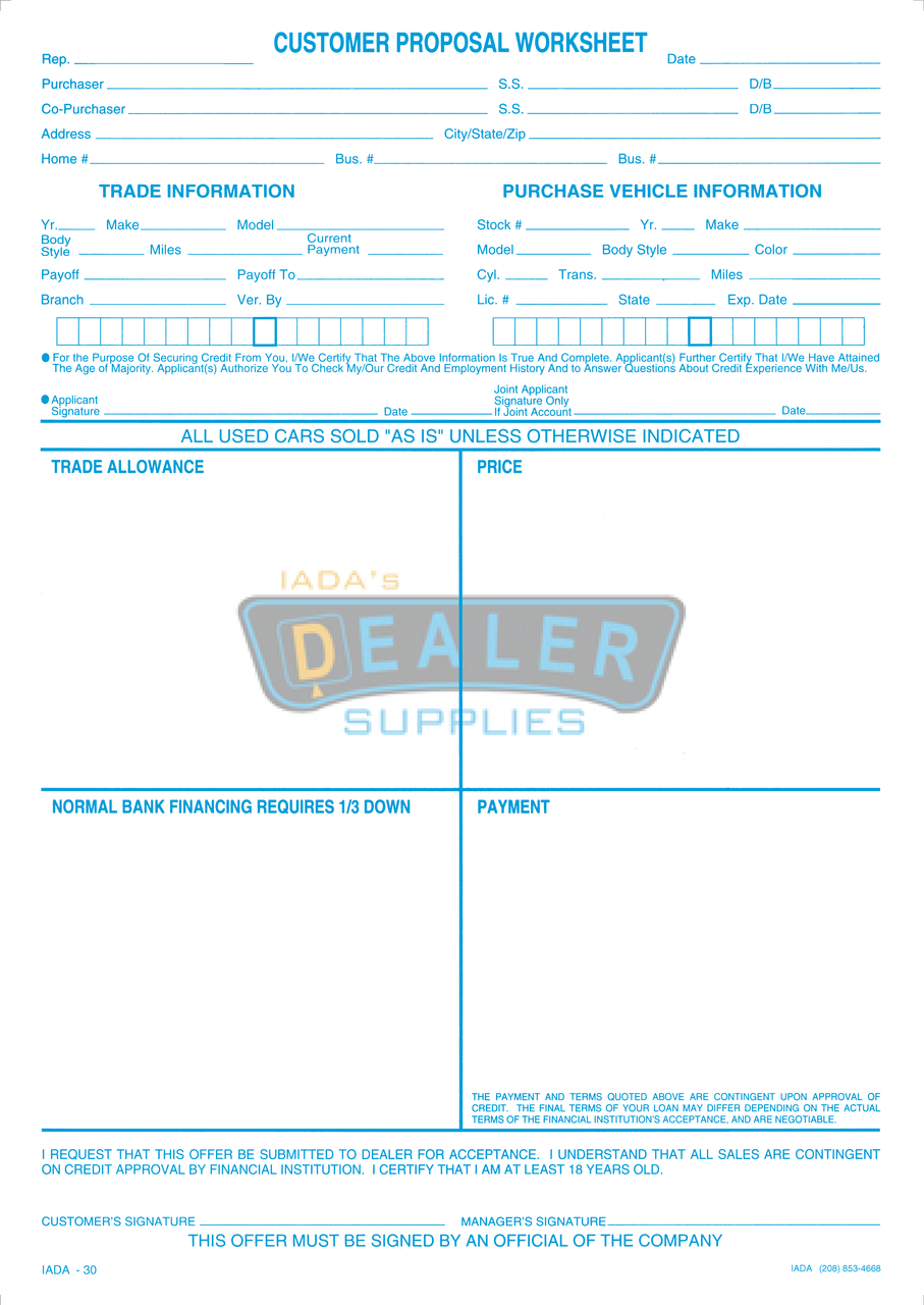 4 square customer proposal sheet for 4 sq