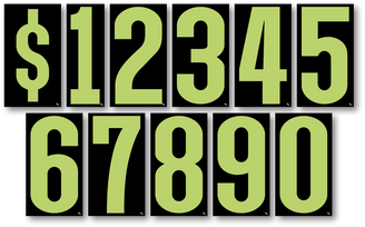 Fluorescent Green/Black Window Stickers 7 1/2""