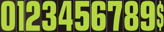 Fluorescent Green/Black Window Stickers 9 1/2""