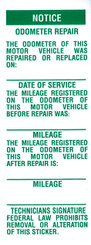 Odometer Repair Label