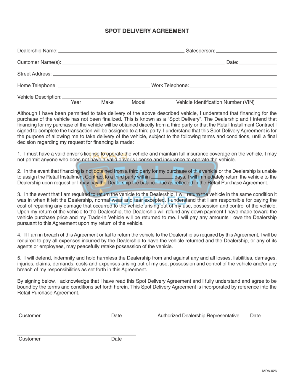 Car Dealership Goodwill Agreement