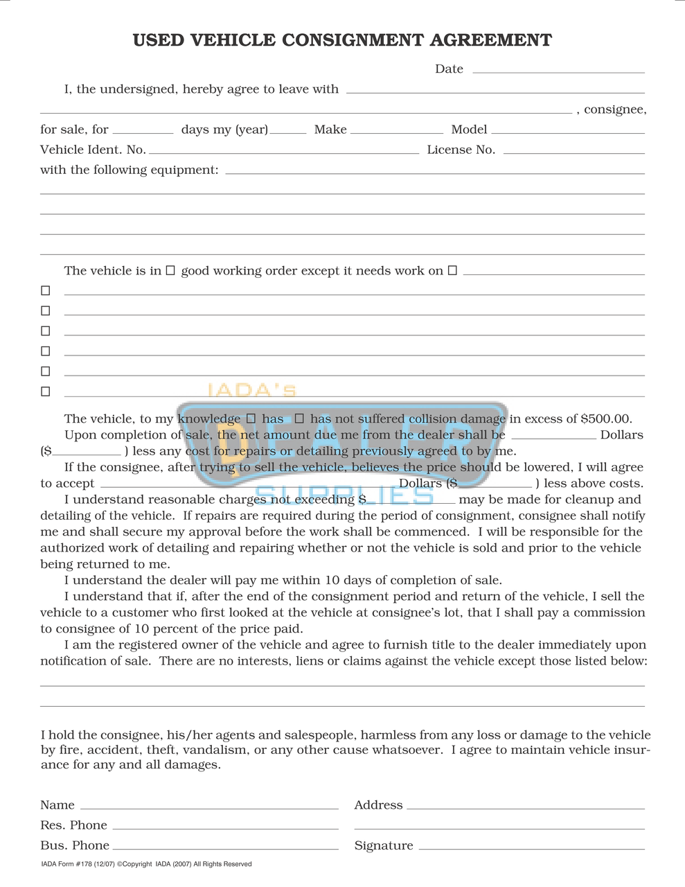 Used Vehicle Consignment Agreement
