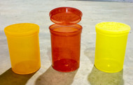 Mix of 3 different colored storage containers; transparent ORANGE, YELLOW, and RED