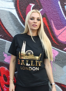 BALLIN LONDON BLACK & GOLD FOIL T-SHIRT