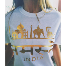 NAMASTE HINDI WHITE & GOLD FOIL T-SHIRT