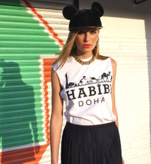 HABIBI DOHA WHITE & BLACK T-SHIRT