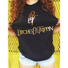 BBT BLACK & GOLD FOIL SLIT SLEEVE T-SHIRT