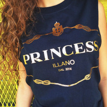PRINCESS OF ILLANO BLACK & GOLD SLIT SLEEVE T-SHIRT