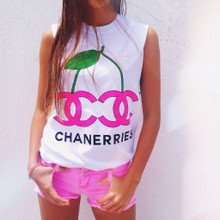 CHANERRIES WHITE & NEON PINK SLIT SLEEVE T-SHIRT