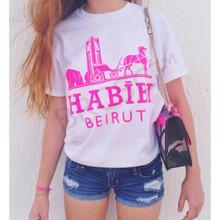 HABIBI BEIRUT WHITE & NEON PINK T-SHIRT