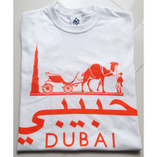 HABIBI DUBAI WHITE  ORANGE T-SHIRT
