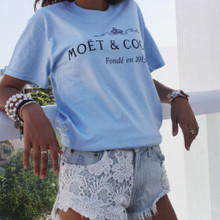 MOET & COCAINE BABY BLUE T-SHIRT