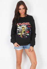 CHANEL X IRON MAIDEN KARL LAGERFELD BLACK SWEATER
