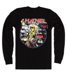 CHANEL X IRON MAIDEN KARL LAGERFELD BLACK LONG SLEEVED T-SHIRT