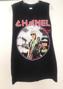 CHANEL x IRON MAIDEN KARL LAGERFELD BLACK SLIT SLEEVE T-SHIRT