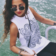 WEED MANDALA SLIT SLEEVE WHITE T-SHIRT