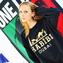 HABIBI DUBAI BLACK & GOLD FOIL SWEATER