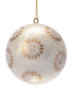 Golden Flora Hand Made Painted Capiz Christmas Ornament