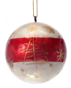 Morning after Christmas Hand Made Painted Capiz Christmas Ornament