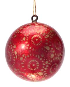 Rio Gold Festival Hand Made Painted Capiz Christmas Ornament