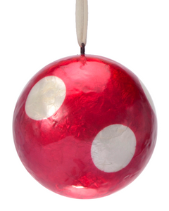 Red & White Polka Dots Hand Made Painted Capiz Christmas Ornament