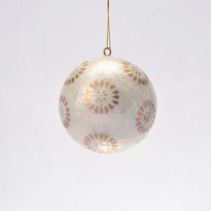 Golden Flora Hand Made Painted Capiz Christmas Ornament - Large