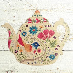 Colorful Bird Teapot Postcard