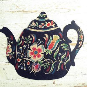 Black Flower Teapot Postcard