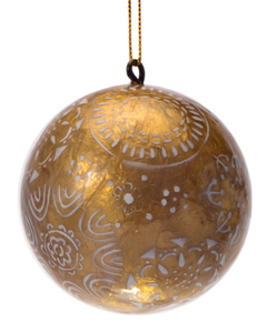 Party Mix in Gold Hand Made Painted Capiz Christmas Ornament