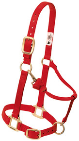 "Original Adjustable Chin and Throat Snap Halter, 1"" Average Horse or Yearling Draft by Weaver - Red"