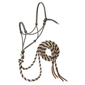 Silvertip Loping Rope Halter with 8' Split Reins Average by Weaver - Black/Tan/Silver