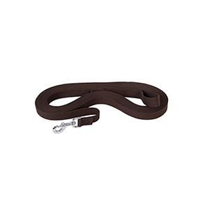 "Flat Cotton Lunge Line, 1"" x 30' with Nickel Plated 225 Snap by Weaver - Chocolate"