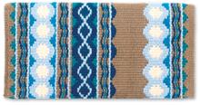 Mayatex Riverland Blanket 1423-1 Ocean Blue, Tan, Teal, Baby Blue.