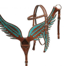 Showman Teal Painted Wing Headstall and Breast Collar Set 13663